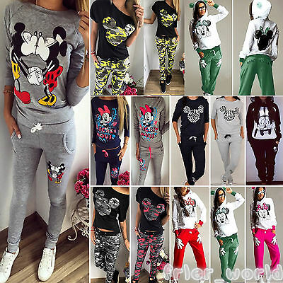 Womens Mickey Minnie Tracksuit Hoodies Sweatshirt Pullover Sweater Tops Pants AU