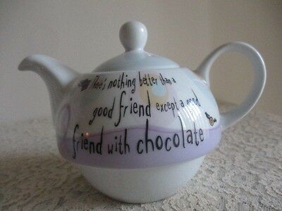 """Tea For One Teapot & Cup """"There's Nothing Better Than A Good Friend Except ...."""""""