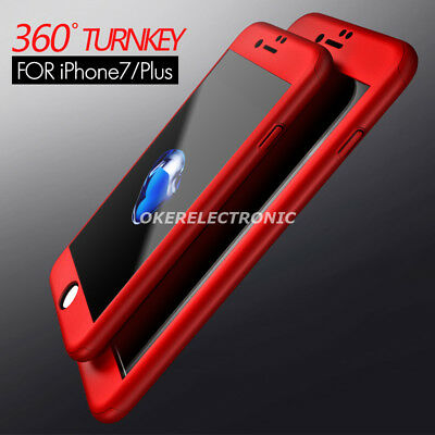 iPaky 360° Hard PC Slim Case Cover + Tempered Glass For iPhone 7 6S 6 Plus S005