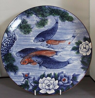 2 X Japanese ?  CABINET PLATES / CHARGERS  HAND PAINTED  COY CARP 12.5 inch