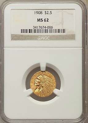 1908  $2.5 Gold Indian Head Quarter Eagle Ngc Ms62