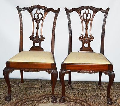 Set of 2 Vintage Chippendale Mahogany Dining Chairs - FREE Shipping [PL3405]
