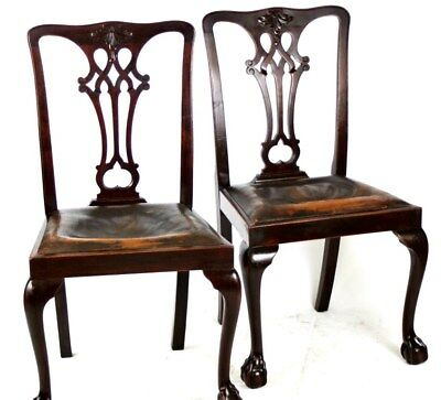 Set of 2 Antique Chippendale Mahogany Dining Chairs - FREE Shipping [PL3356]