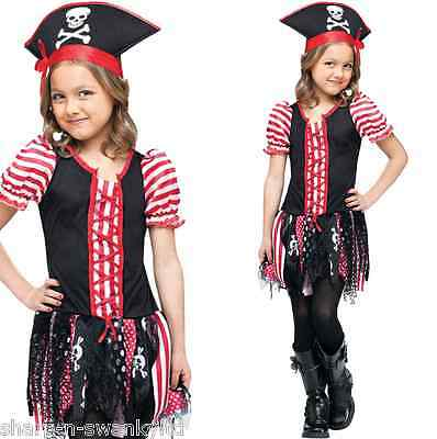 Girls Pink Pirate Costume Cute Skull High Seas Sailor Halloween Kids Child S M L