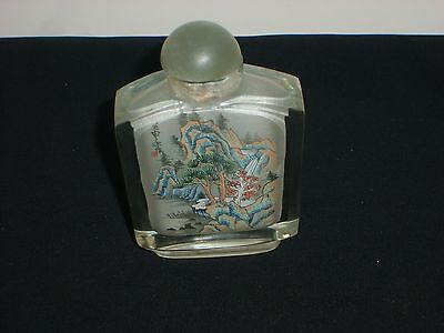 Antique Chinese Reverse Interior Painted Glass Snuff Bottle, Water Fall No Spoon