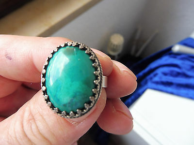 VERY NICE, Old RING__925 Silver __ WITH GREEN STONE _