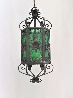 Antique Italian Wrought Iron Black & Green Chandelier, Matte Green Glass, 1 Bulb