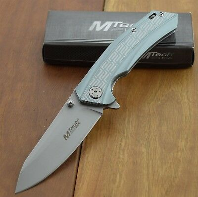 Master Tech USA Folding Pocket  Knife 2 Tone Anodized Aluminum Handel  MT-987GY
