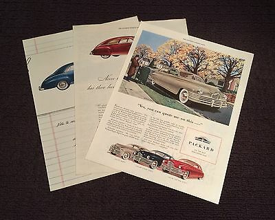 Vintage Packard Automobile Ads - 1946 (2), 1948 - Lot of 3