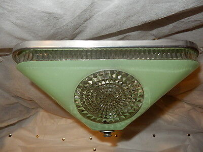 Art Deco Jadeite Green Square Glass Light Fixture Ceiling Chandelier 1940s