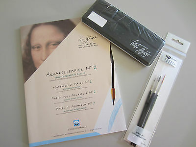 Set  Aquarell White Nights Aquarellfarben 12 er Metallkasten + 3 Pinsel + Block