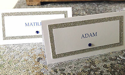 Glitter personalised place cards Wedding / Party