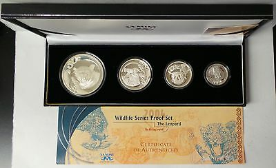 2004 South Africa 4 Coin Leopard Wildlife Silver Series 4 Proof Set
