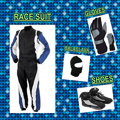 Go Kart Race suit (includes Suit, Gloves, Balaclava & Shoes) free bag- Black