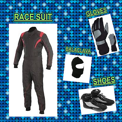 Go Kart Race suit (includes Suit, Gloves, Balaclava & Shoes) free bag- Black red