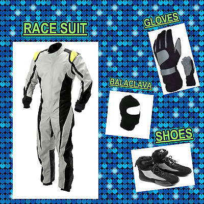 Go Kart Race suit (includes Suit, Gloves, Balaclava & Shoes) free bag- white