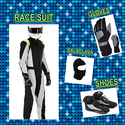 Go Kart Race suit (includes Suit, Gloves, Balaclava & Shoes)free bag-black white