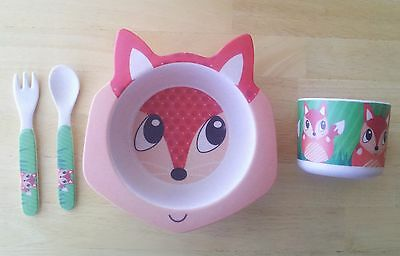 Green Frog Friends Organic Eco-Bamboo Kids Meal-Set, The Fox
