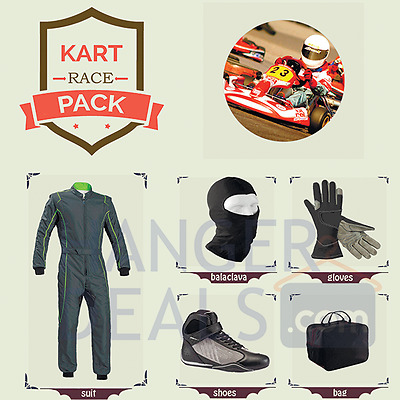 Go Kart Race suit (includes Suit,Gloves,Balaclava & Shoes)free bag- green lining
