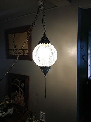 Vintage Brass Ceiling Hanging Pendant Light Fixture with Glass Globe