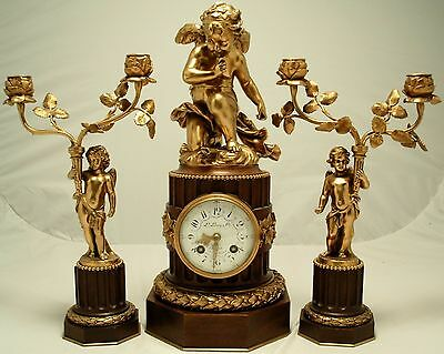 Antique French Clock Garniture. L. Leroy & Cie, Paris. Circa 1900