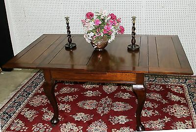 Beautiful Antique English Solid Walnut Queen Anne Draw Leaf Dining Table  C1900