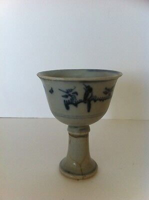 Chinese blue and white Ming Transition stem cup