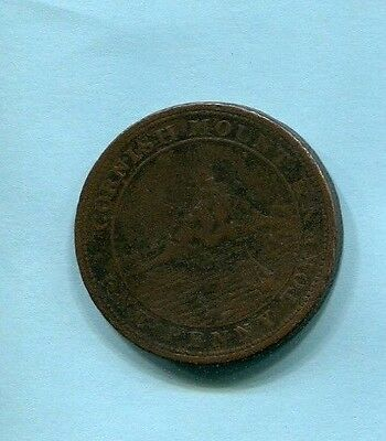 Cornish Mount One Penny Conder Token West Wheal Fortune Vg Lightly Porous