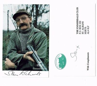 Stan Richards  Hand signed Emmerdale  Photograph and Complements slip 5 X 3