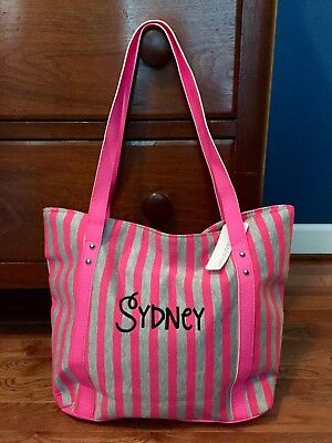 Personalized SYDNEY Pink And Gray Striped Bag - Casual, Beach, Dance Zipper Tote