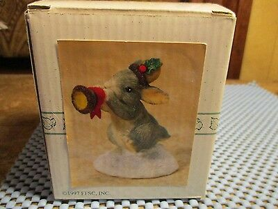 Charming Tails Fitz And Floyd Figurines Holiday Trumpeter 87/555 Nib
