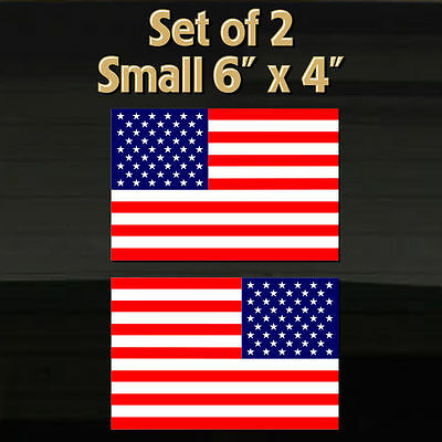 """TWO 6""""x4"""" American USA Flags United States America US Flag Decal Stickers Grafix"""