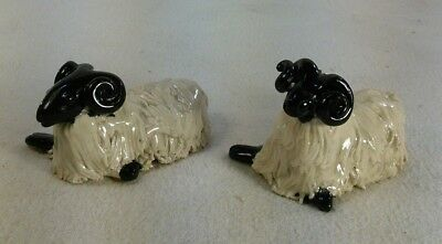 Vtg 2pc Pottery Art Spaghetti trim Scottish Blackface Sheep Country Figurine CWP