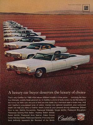 Vintage Magazine Ad - 1968 - Cadillac - 11 models shown