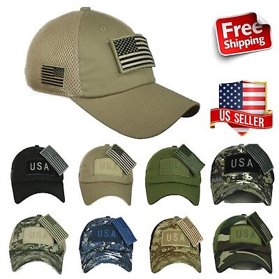 USA American US Flag Baseball Cap Mesh Trucker Tactical Operator Army Camo  Hat a5761be5e6c