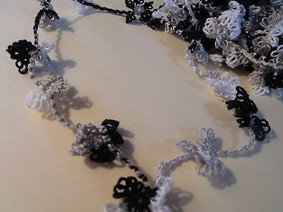 "Tatted Necklace 70 Tatted Flowers 98"" Tatting by Dove Country"