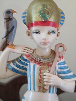 "Simonetti Depose Italy EGYPTIAN Boy with Bird~Fontanini Marble Base 8""Spider 8"""