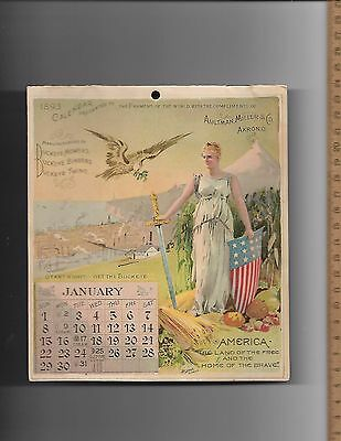 RARE Buckeye Harvesting Machines 1893 8 page all color Calendar Aultman Miller