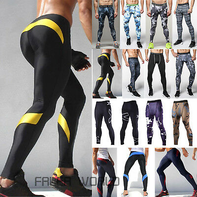 Men Gym Fitness Leggings Compression Base Layer Sports Workout Skin Tight Pants