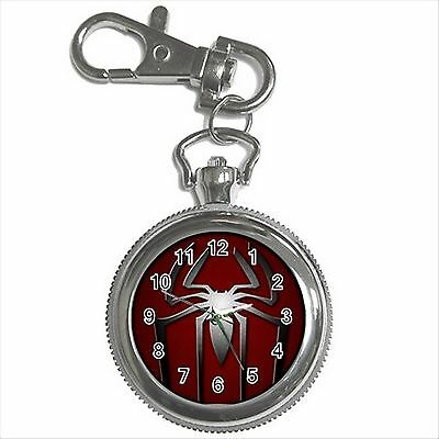 NEW* HOT SPIDERMAN Silver Tone Key Chain Ring Watch Gift