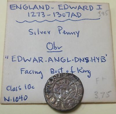 Great Britain Silver Penny Edward I 1272-1307 Class 10c North 1140