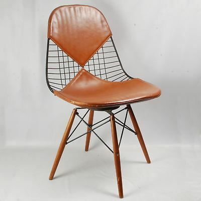 Rare Charles Eames PKW birch dowel wire swivel chair postman's leather Bikini