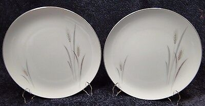 """TWO Fine China of Japan Platinum Wheat Dinner Plates 10 1/4"""" (Set of 2)"""