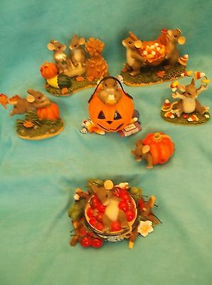 Lot of 7  Charming Tail Figurines-Fall, Halloween, More-Fitz-Floyd