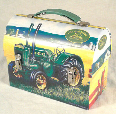 John Deere Tractors Moline Ill Round Top Tin Carry Lunch Box B1101