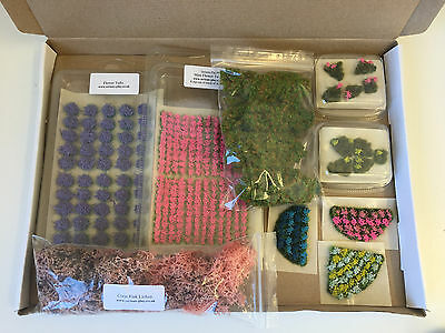 Limited Ed Scenery Kit D -model wargames railway trees static grass tufts flower