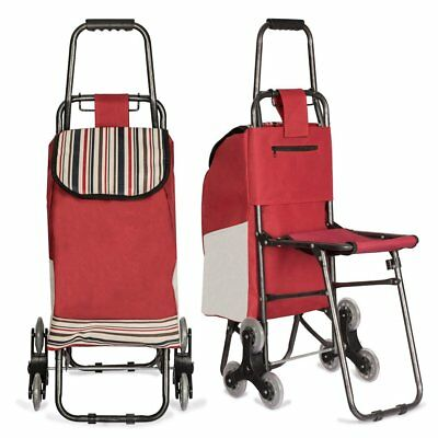 Rolling Shopping Bag Trolley Cart Large Portable w/ Seat Travel Tote Grocery NEW