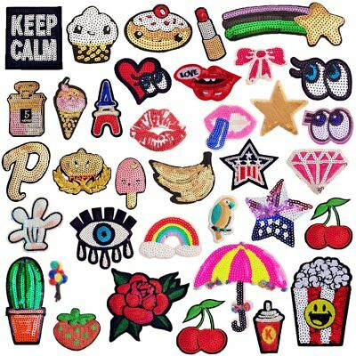 SIX VANKA 36pcs Assorted Size Iron On Embroidered Motif Applique Glitter Sequins