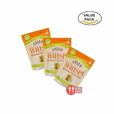 3 Pack Value: Cello Whisps Pure Parmesan Cheese Crisps NO TAX