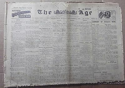 1930 The Age ~ Melbourne ~ Full Newspaper 18 Pages ~Vintage But Poor Condition